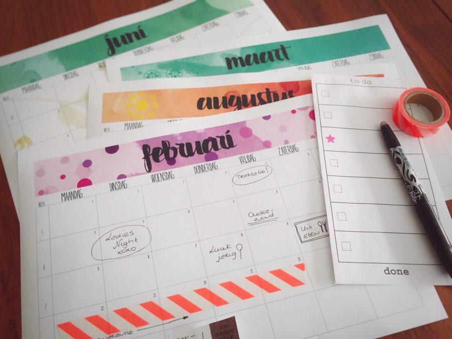 GRATIS printable 2016 Kalender