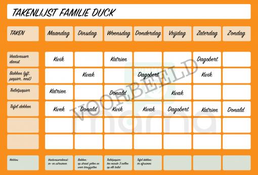 Voorbeeld takenlijst oranje