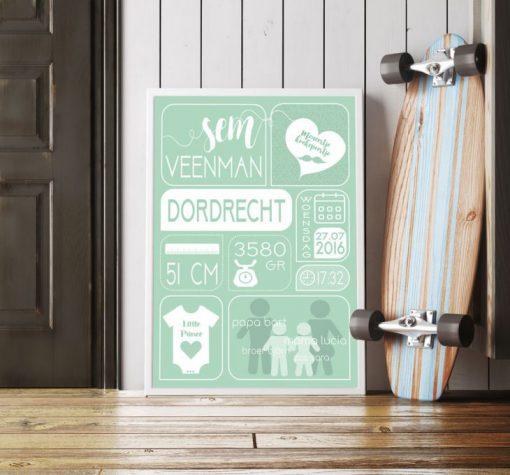 Geboorteposter-jongen-groen-skateboard