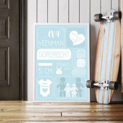 Geboorteposter-meisje-blauw-skateboard