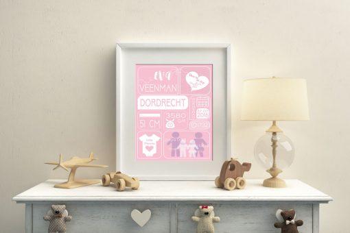Geboorteposter-meisje-roze-nursery