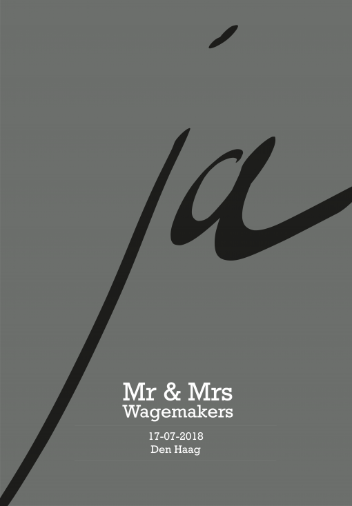 Trouwposter beton grijs Mr&Mrs